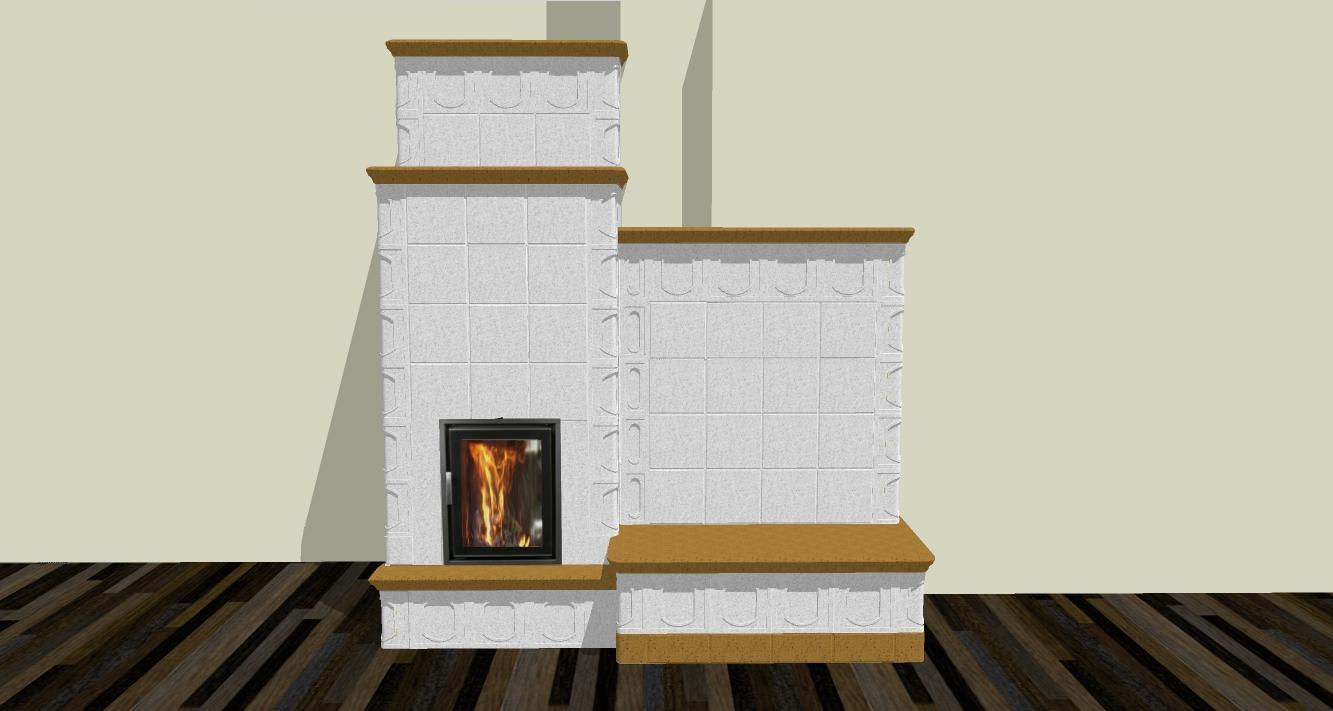 Hypokaustová pec s lavicou - Vizualizácia kachľovej pece