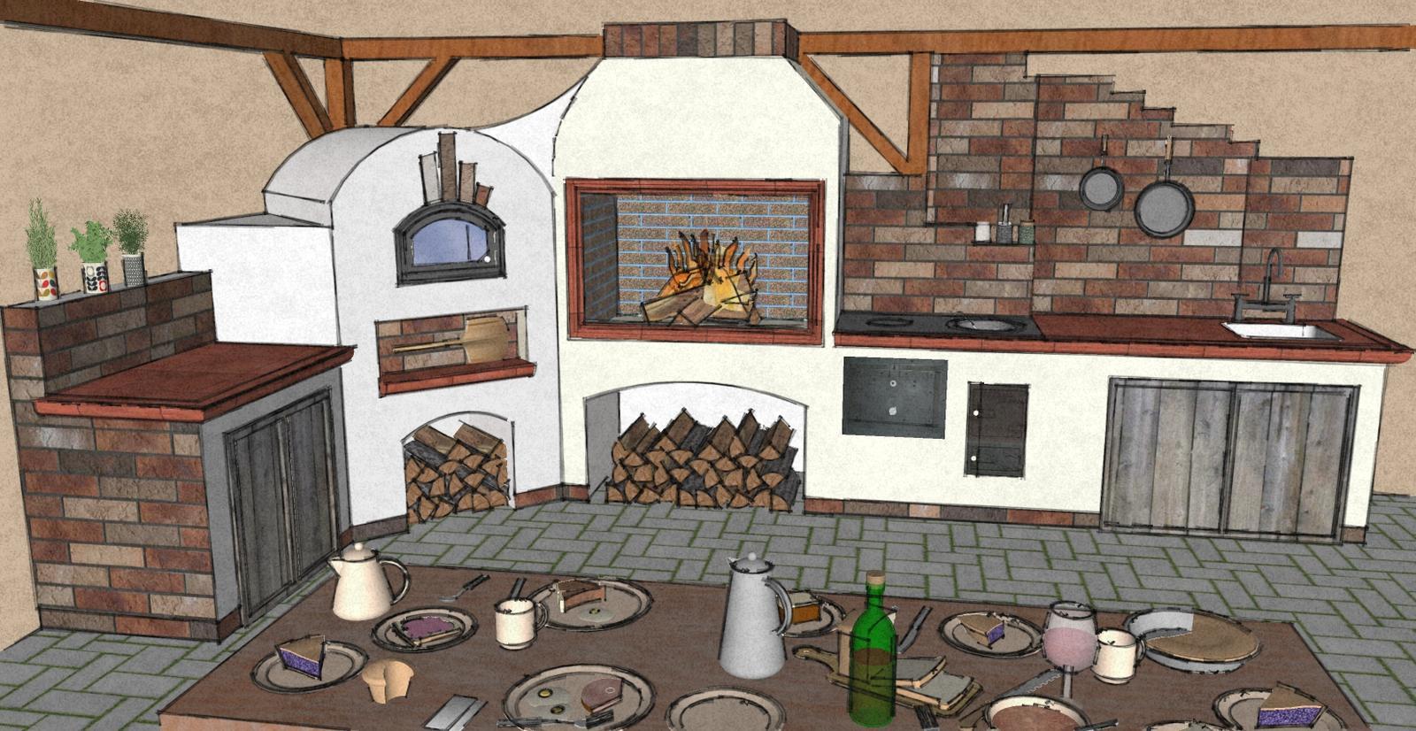 Projekty v procese - Záhradná kuchyňa - pracovná plocha, pizza pec, krb/gril , sporák ,pracovná plocha a drez