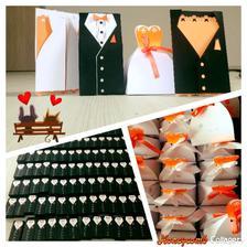 krabičky na koláčky a svatební oznámení