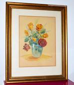Malovany obraz akvarel (kytica, ruze) 1949 r.,
