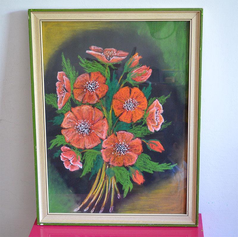 Malovany obraz, pastel (kytica, maky) - Obrázok č. 1