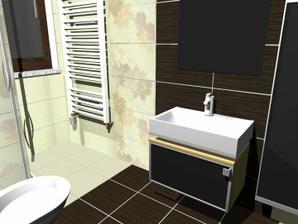 Skrinka pod umývadlom bude tmavo-hnedá a aj vysoká skrinka vedľa umývadla bude tmavo-hnedá...