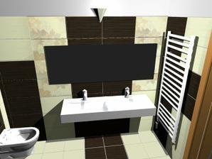 Pod umývadlom bude tmavo-hnedá skrinka...