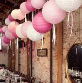 Lampiónky - světle růžové 7ks - pr.30cm,