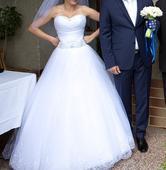 Pohodlné biele svadobné šaty, 36