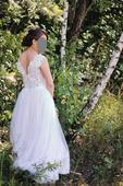 Svatební šaty na malou postavu, krajka a tyl 36/38, 38