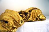 Zlatý třpytivý ubrus - Půjčovna dekorací ,
