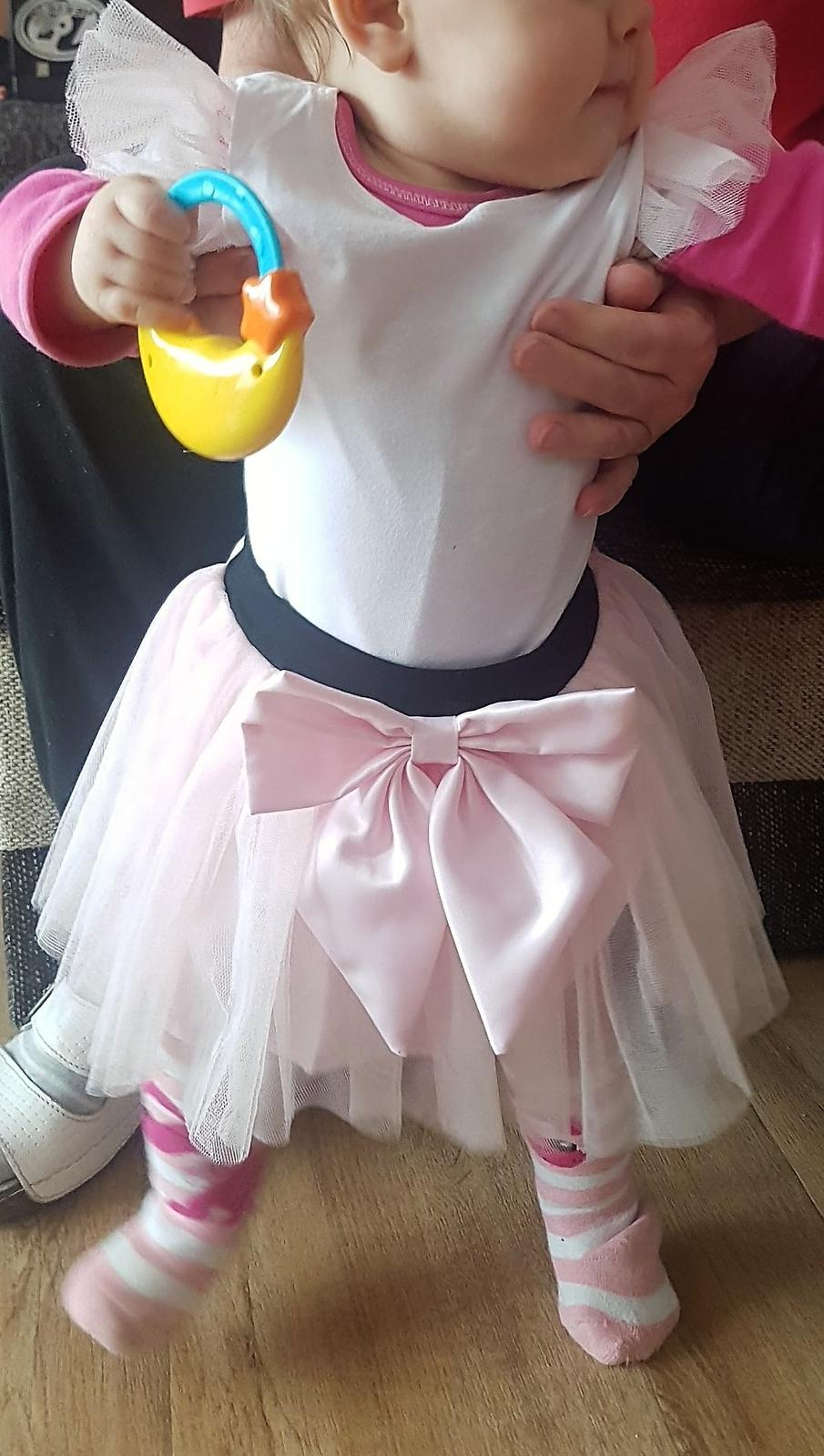 Tričko s rukávky TUTU tylové růžové a bílé  - Obrázek č. 3