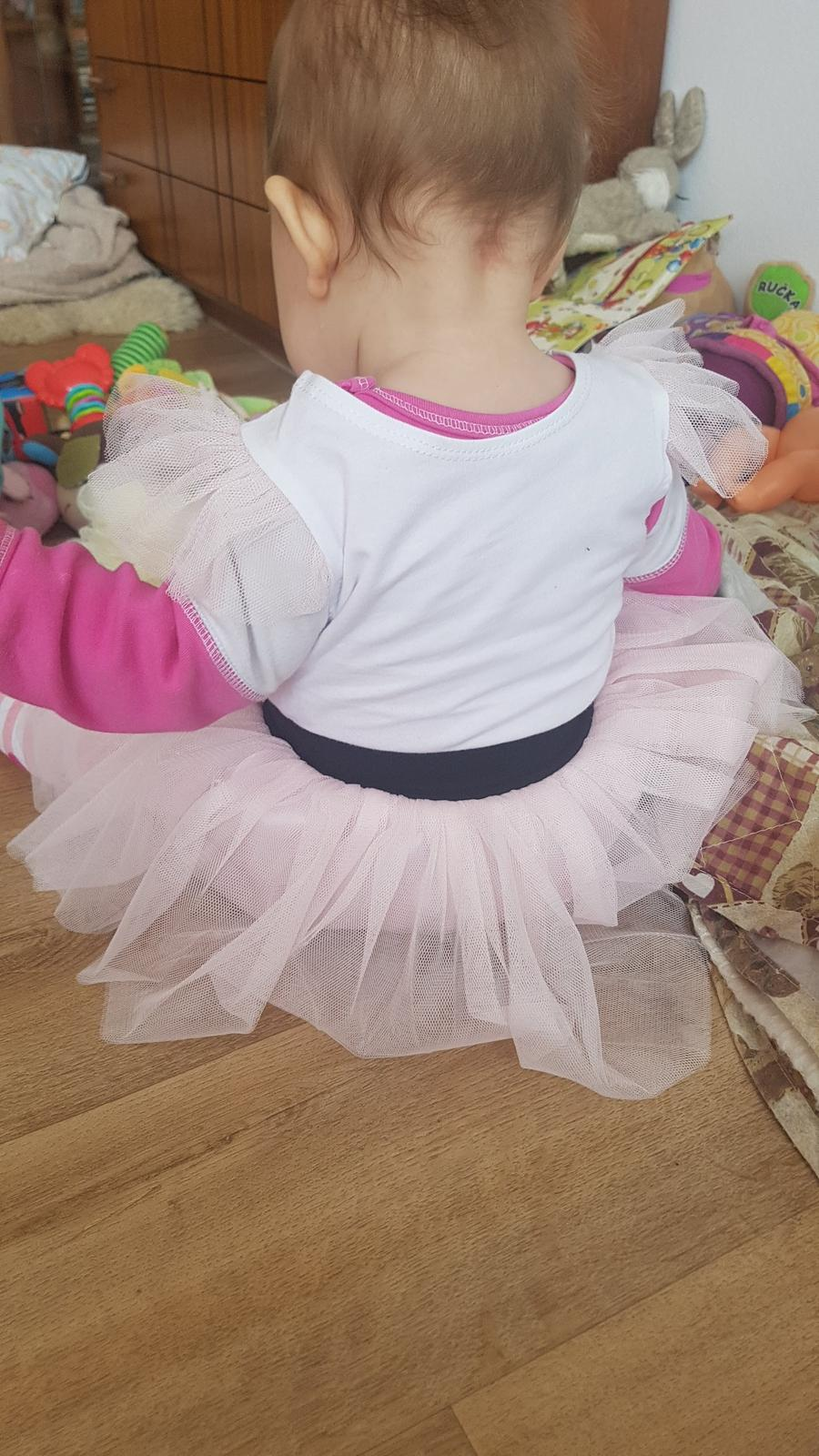 Tričko s rukávky TUTU tylové růžové a bílé  - Obrázek č. 4