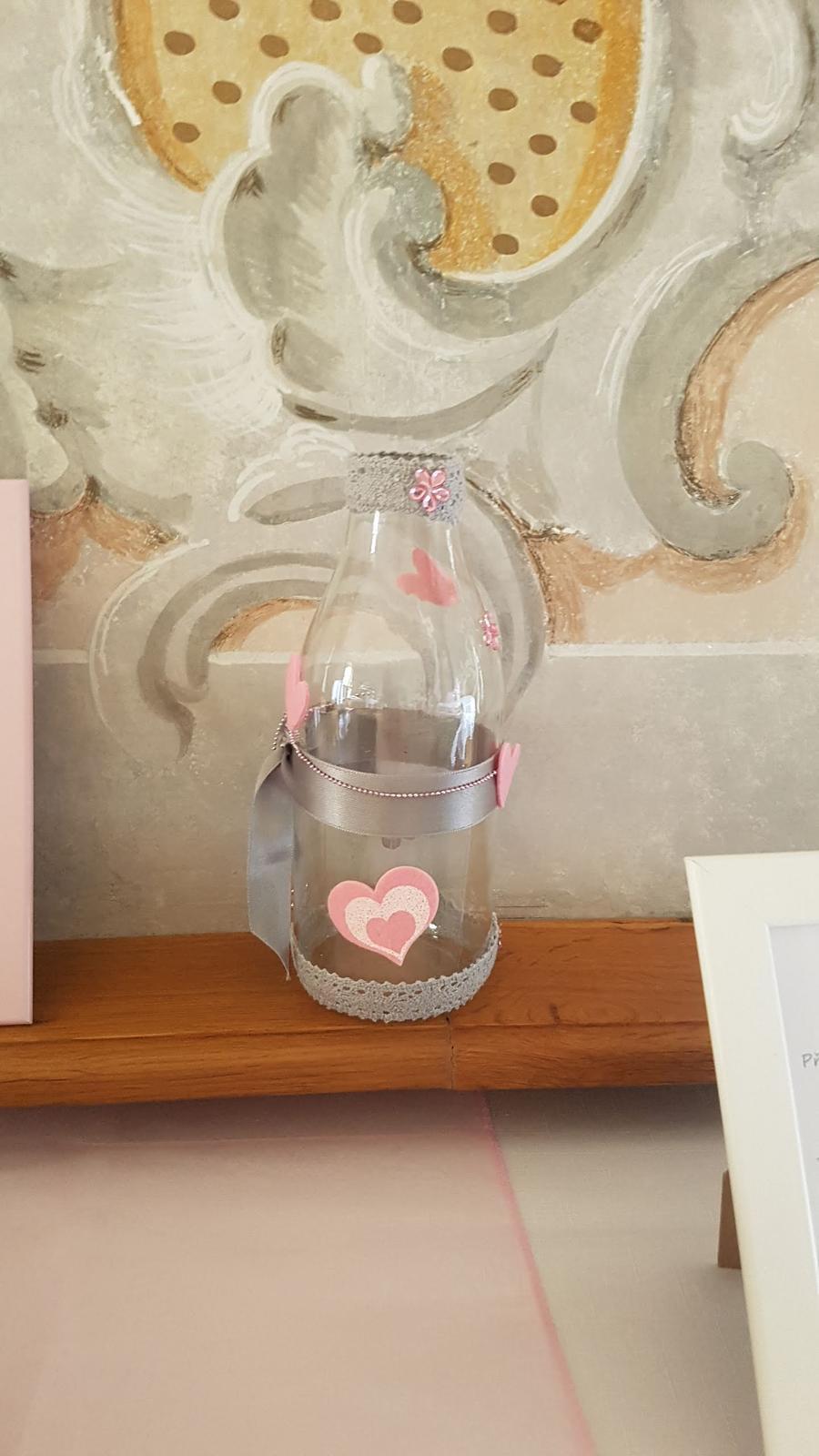 sklenice zdobená(váza, na vzkazy, brčka či nápoje) - Obrázek č. 2