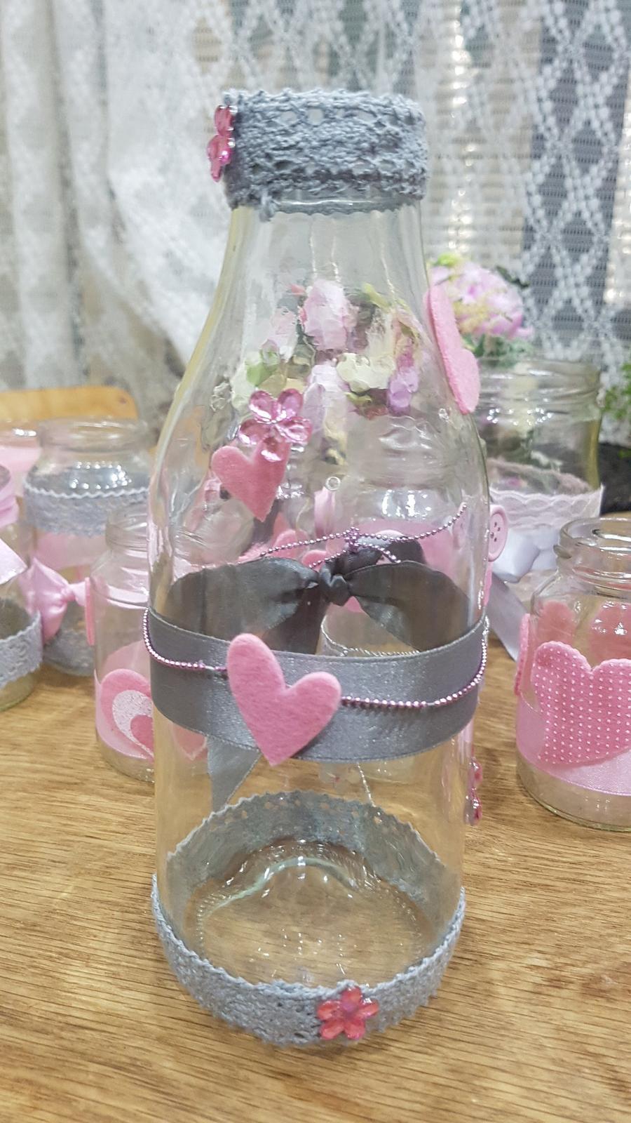 sklenice zdobená(váza, na vzkazy, brčka či nápoje) - Obrázek č. 1