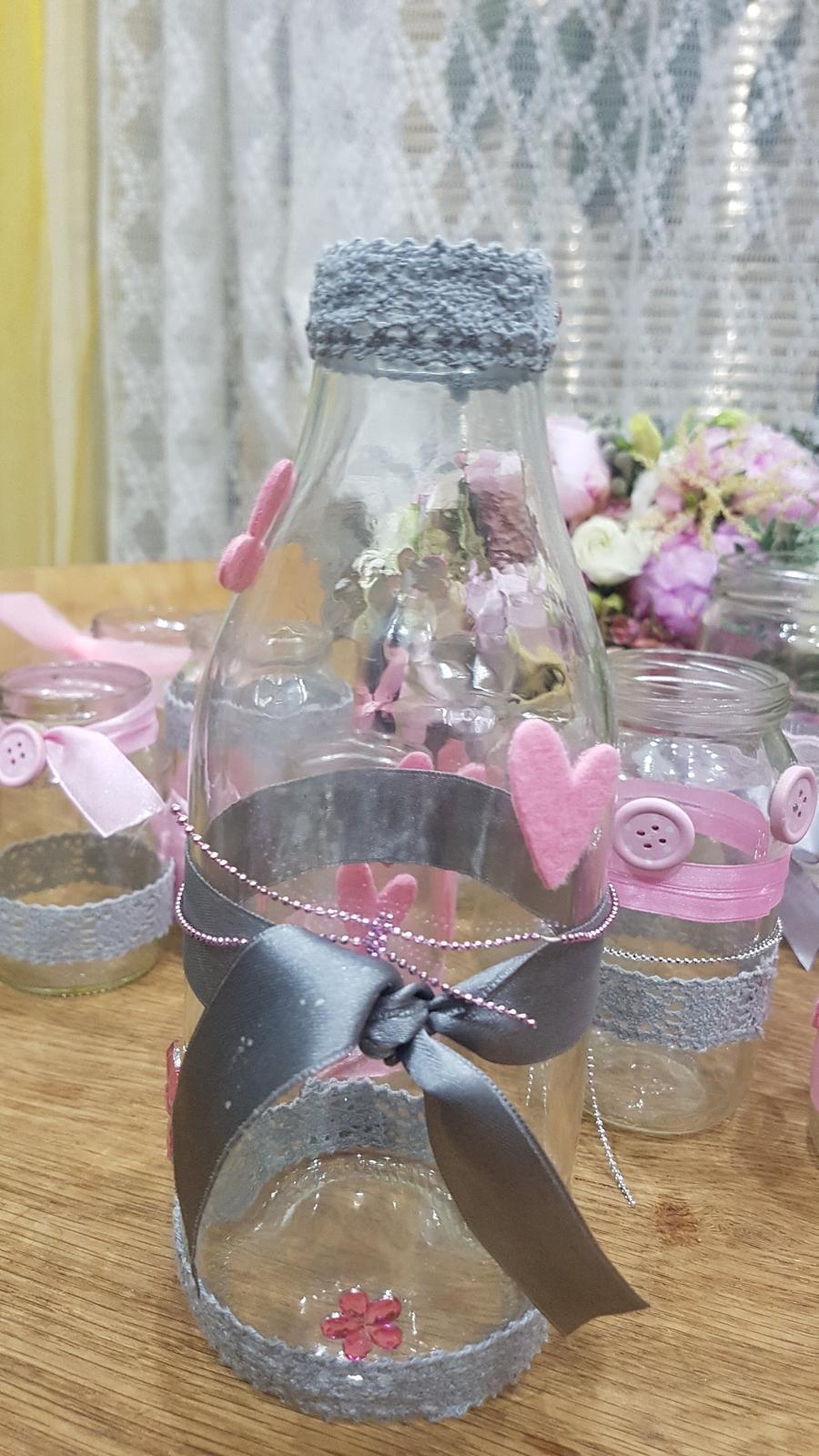 sklenice zdobená(váza, na vzkazy, brčka či nápoje) - Obrázek č. 3