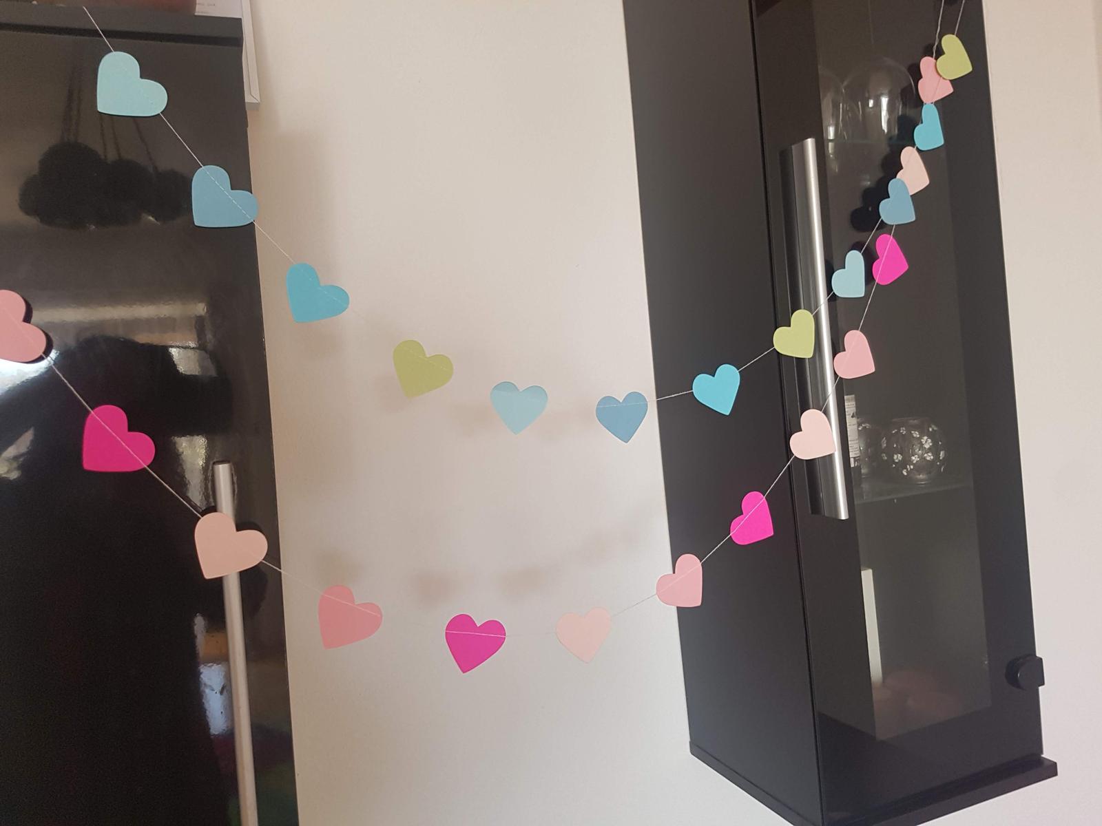 Girlandy srdce 15 ks srdíček - Obrázek č. 1