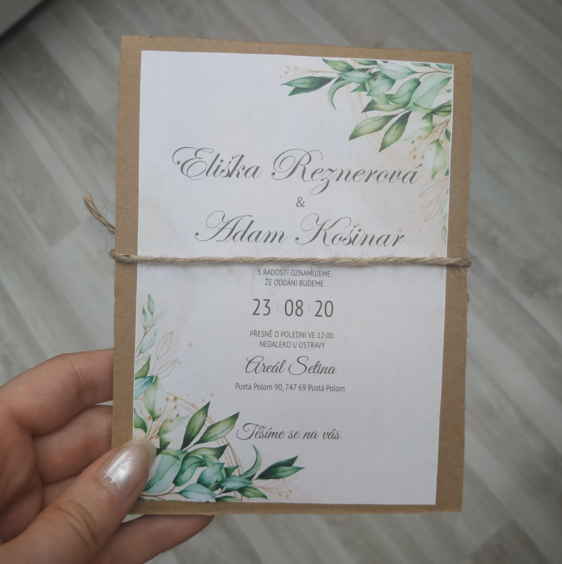 Svatební oznámení - zadní strana
