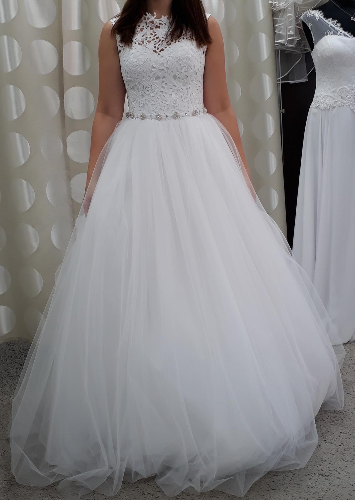 Krajkové svatební šaty, bílé, vel. 36-38 - Obrázek č. 1