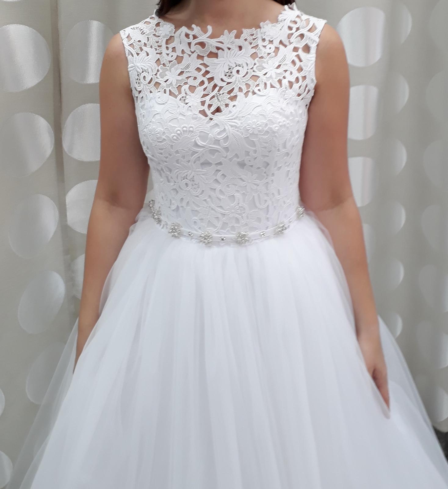 Krajkové svatební šaty, bílé, vel. 36-38 - Obrázek č. 2