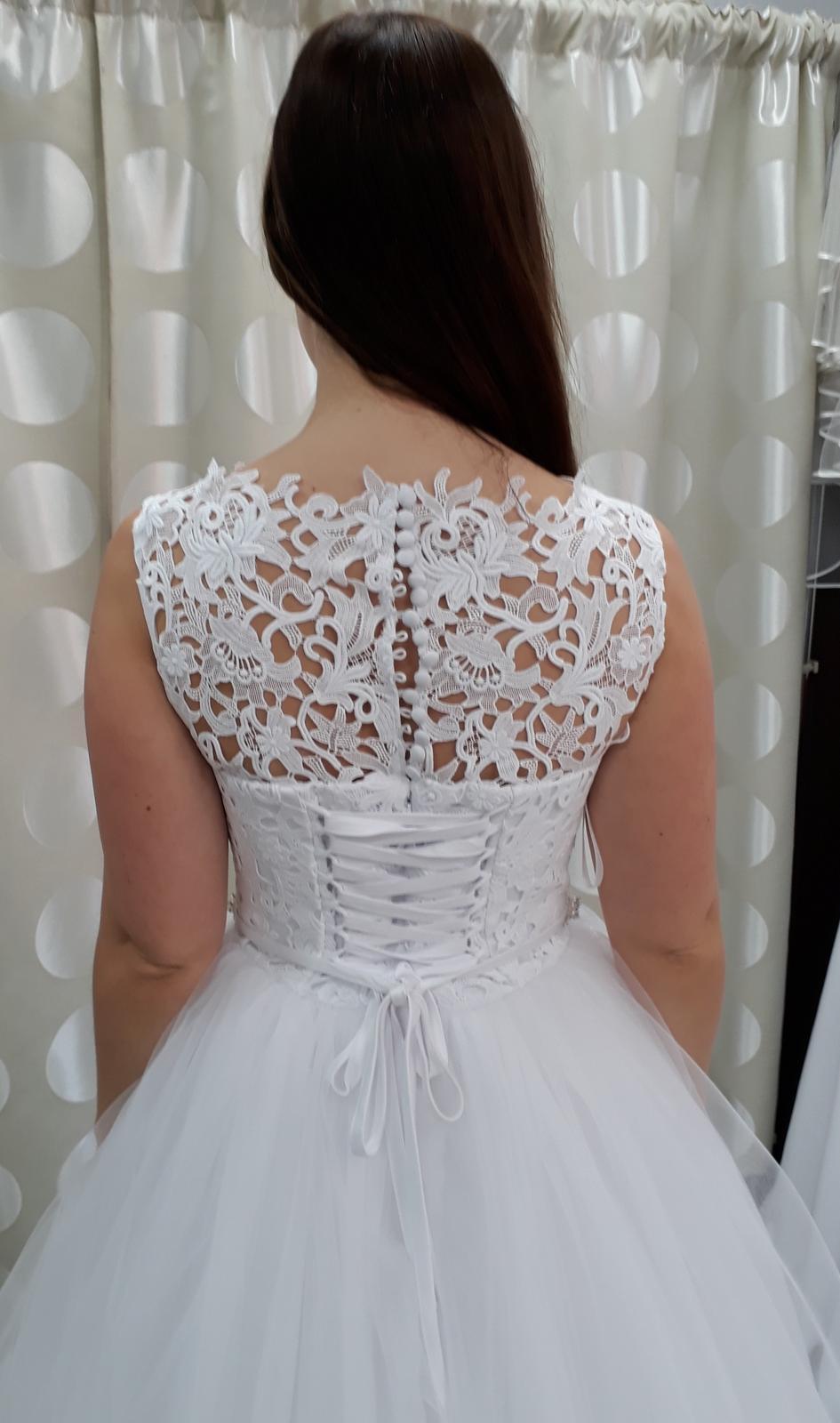 Krajkové svatební šaty, bílé, vel. 36-38 - Obrázek č. 3