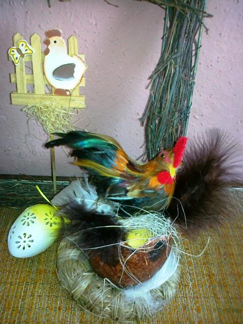 Jarne a Velkonocne dekoracie - kohutik vo vajicku :-))