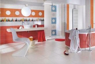 tahle asi do horni koupelny - až na ty kruhové výřezy.. manžel chce oranzovou koupelnu (teplou), me zadna zatim nepadla do oka, tohle je takovy kompromis.. včetně těch blaznivejch pastelek :-)