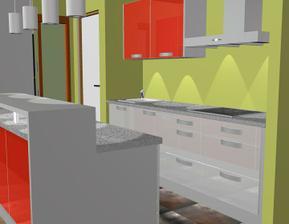 Nový návrh kuchyhe - Gorenje, leskla folie..  Varianta 1 kombinace s šedou a vyšší bar