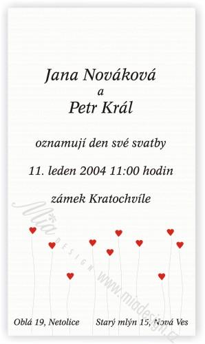 Cervena svatba 8. cervna 2006 - Takovyto typ oznameni se mi libi, jednoduche, zadni andilci a jejich prdelky ci podobne vylomeniny.I milacek souhlasi s tim, ze jsme nic lepsiho nevideli, takze az budeme mit potvrzeny termin, objedname toto.