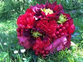 rudá kytice nejen z pivoněk,
