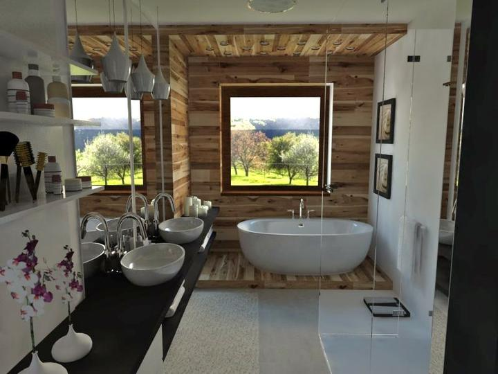 Kúpeľne- vizualizácie - Návrh kúpeľlne v novostavbe RD - rozmery 2,54 x 5 m