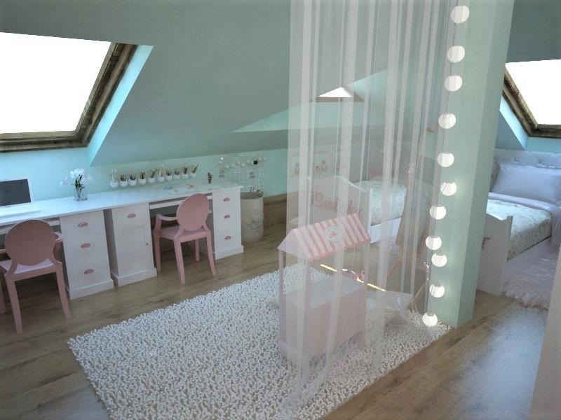 Detské a študentské izby- vizualizácie - návrh romantickej detskej izby pre sestričky :-)