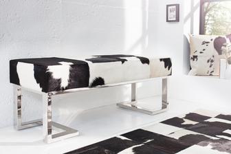 Lavica z kravskej kože - čierna verzia