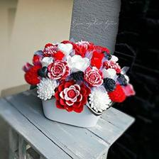 Mydlová červeno-biela kytica