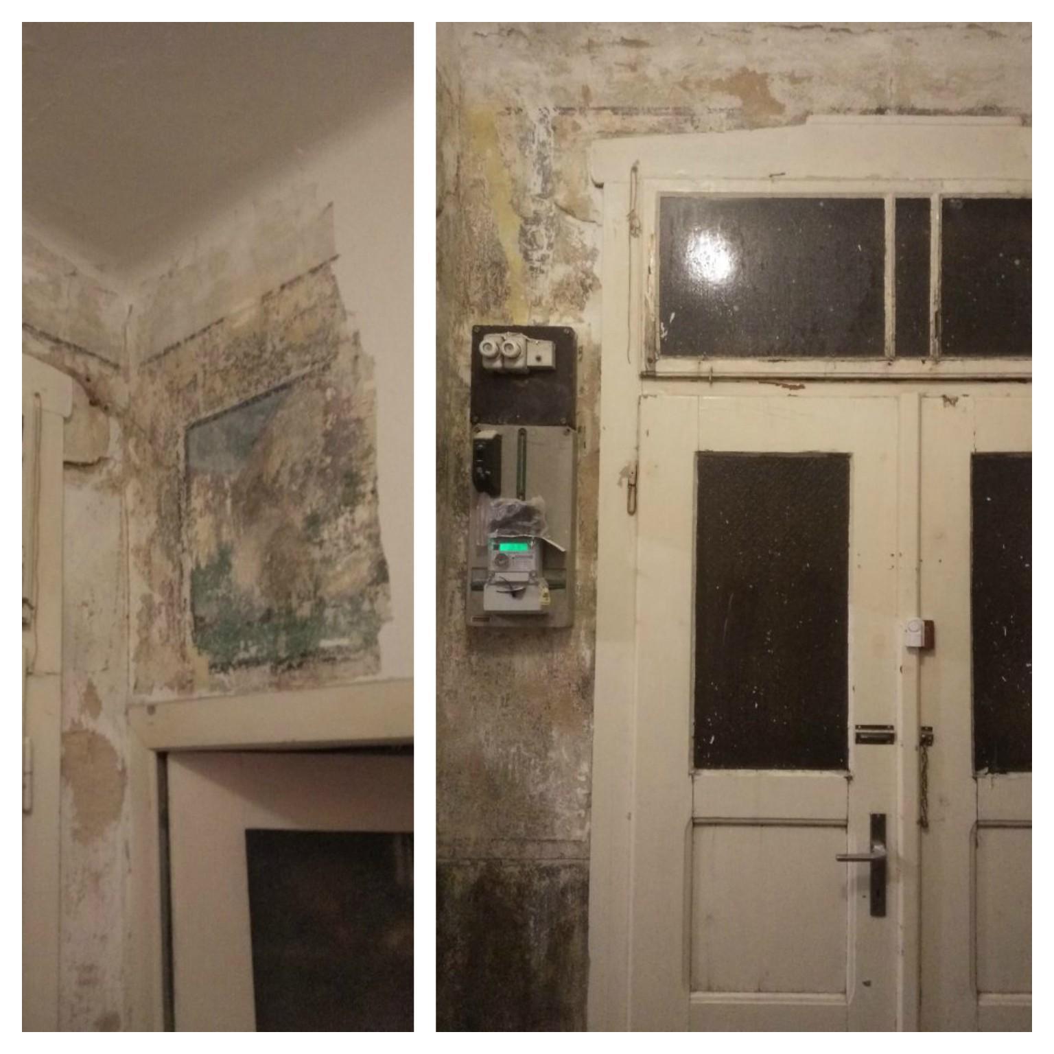 Náš boj - Tak sme sa dnes večer pustili do škrabania chodby :) dali sme dolu plesnivy náter, pod ním sme priamo na stenách našli nejaké obrazy, som zvedavá čo tam bude ďalej..