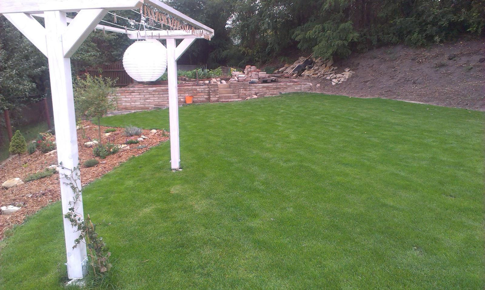 Záhrada - výstavný trávnik - Ježovatka kuří noha to už vzdala - na jar začne nový boj ale teraz si to musíme užiť :-)))))