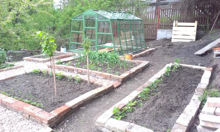 Úžitková záhrada v plnej veľkosti - ešte musíme dokončiť poslednú časť okolo kompostu - ale už sa na tom pracuje (čo mi sily stačia) a vysypať posledné chodníčky štrkom.