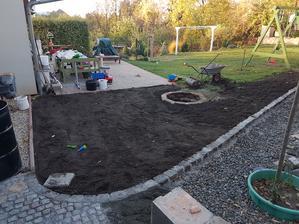 Závážame zeminou, zásobu na svahu máme dostatočnú. Celú časť som odbordelovala, vyčistila a pripravujeme sa na siatie. Vzíde a prežije alebo nevzíde a zasejeme na jar. Počasie nám praje. Tak uvidíme.