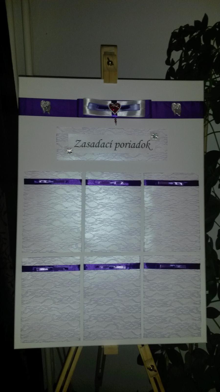 Takto sa pomaličky pripravujeme - zasedaci poriadku, iba deň pred svadbou vytlačíme menovitý zoznam