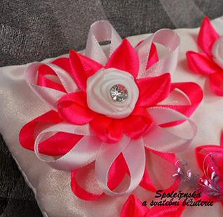 Polštářek pod prstýnky růžový-fuchsiový 07 - Obrázok č. 4