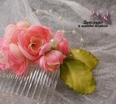Květinový svatební hřebínek 70-SKLADEM,