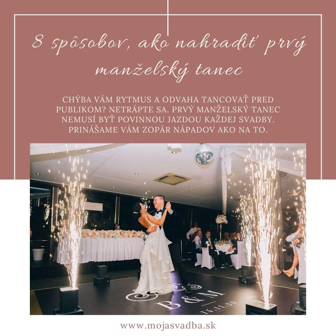 💃🕺Chýba vám rytmus a odvaha tancovať pred publikom? Netrápte sa. Prvý manželský tanec nemusí byť povinnou jazdou každej svadby. Vynechajte ho, nahraďte, preneste pozornosť inde. Prinášame vám zopár nápadov ako na to. 😉  👉Článok čítaj TU: https://mojasvadba.zoznam.sk/magazine/8-sposobov-ako-nahradit-prvy-manzelsky-tanec - Obrázok č. 1