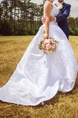 Elegantné svadobné šaty na vyššiu postavu, 42