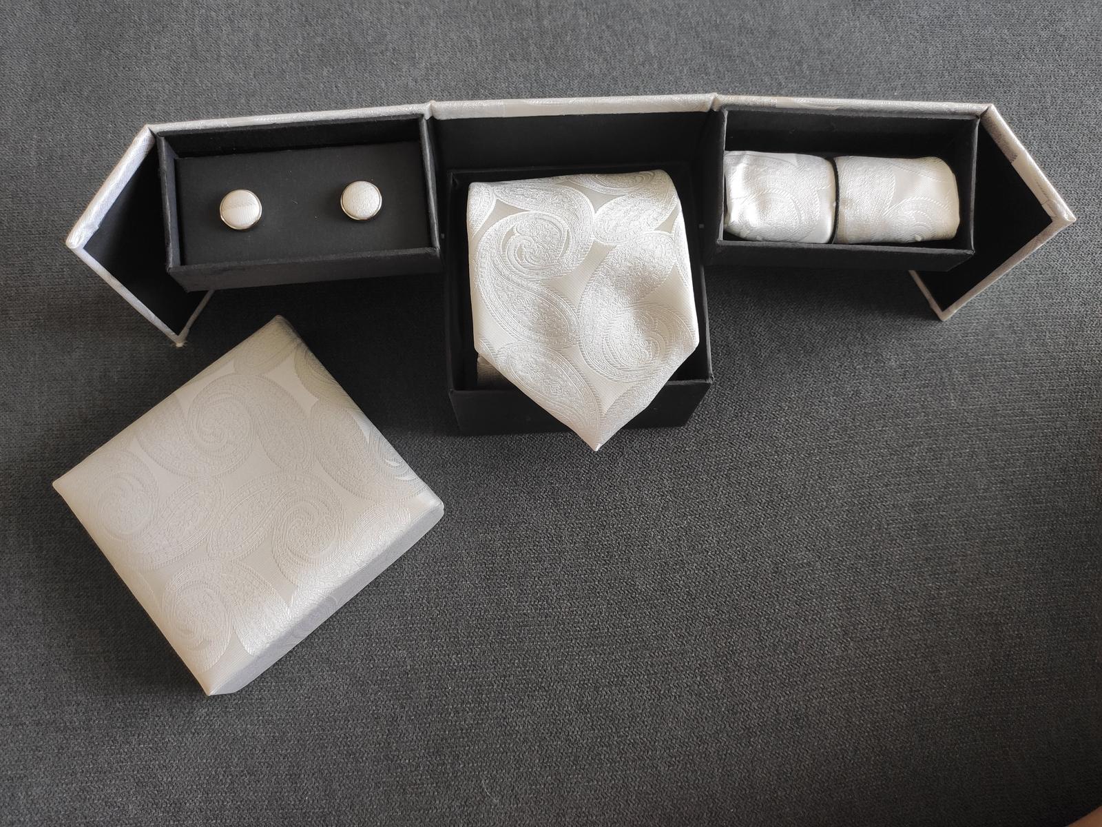 Set pre ženícha - kravata, vreckovka, man. gombíky - Obrázok č. 1