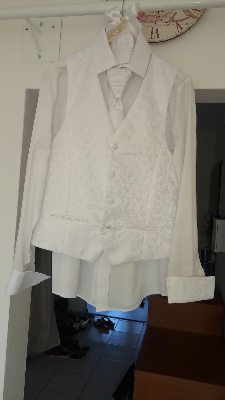 Svadobná košeľa, vestička s vreckovkou značky ADAM - Obrázok č. 2