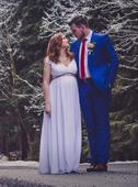 Svatební boho šaty v řeckém stylu, i pro těhulky, 38