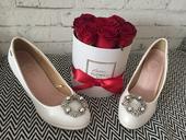 Svadobné biele perleťové lodičky s brošňou 39, 39