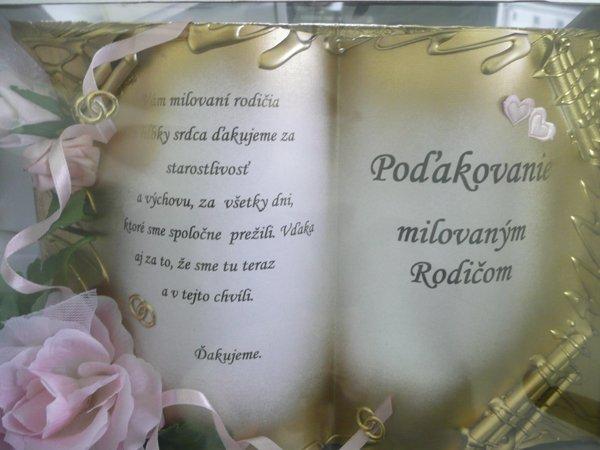 Radanka a Branko - Podakovanie mojim rodicom objednane