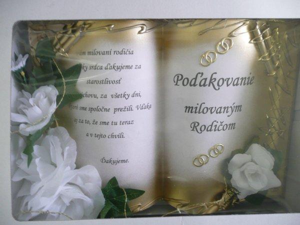 Radanka a Branko - Podakovanie Branovym rodicom objednane