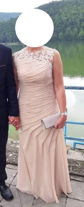 Dlhé spoločenské šaty vo farbe champagne - Obrázok č. 1