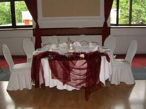 skúška dekorácie na hlavný stôl
