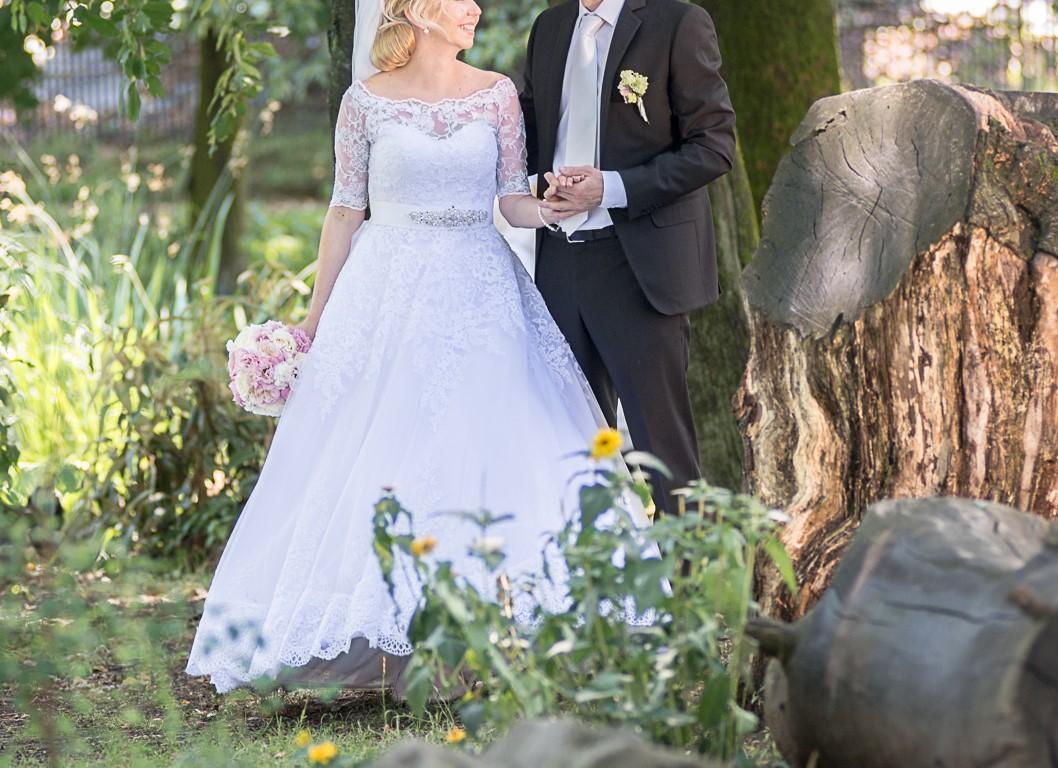 Biela svadobná kravata - Obrázok č. 1