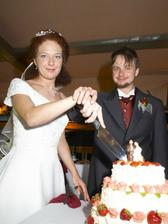 Krájení dortu - tradice. byl výborný.