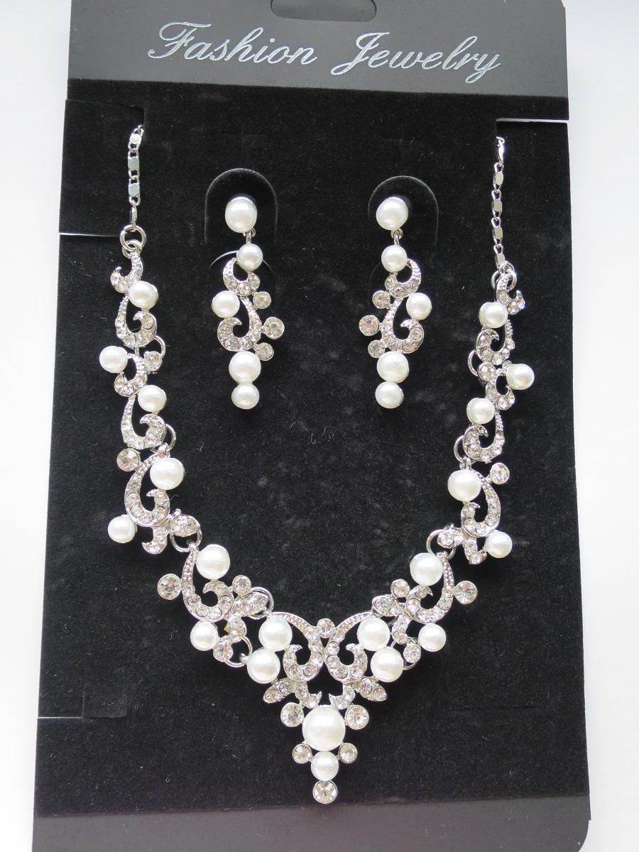 Set náhrdelník + naušnice s perličkami - Obrázek č. 1